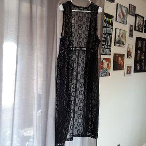 Torrid women's size 1 lace sheer long vest/duster